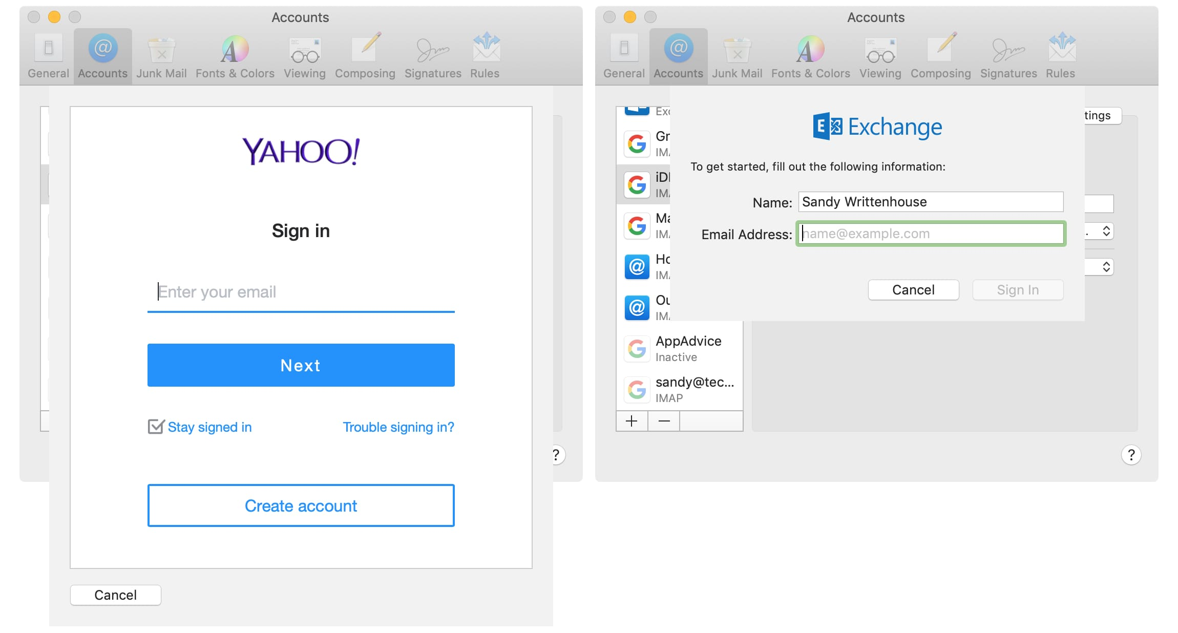 Add Yahoo or Exchange email account to Mail on Mac