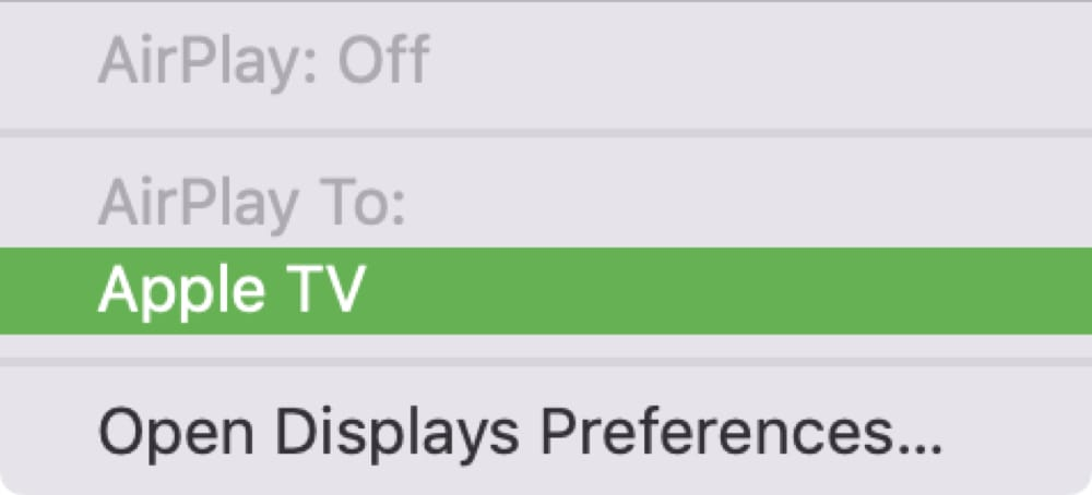 Apple TV AirPlay from Mac