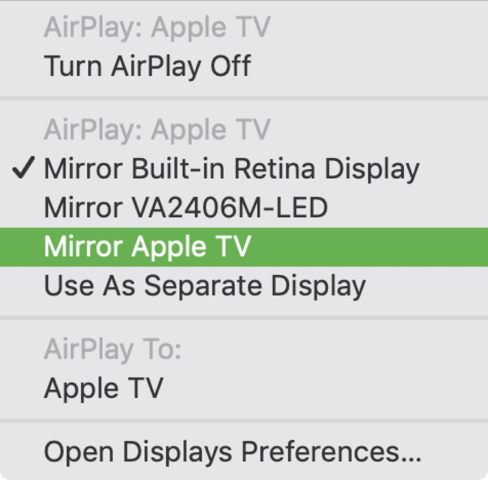 Apple TV Mirror Display