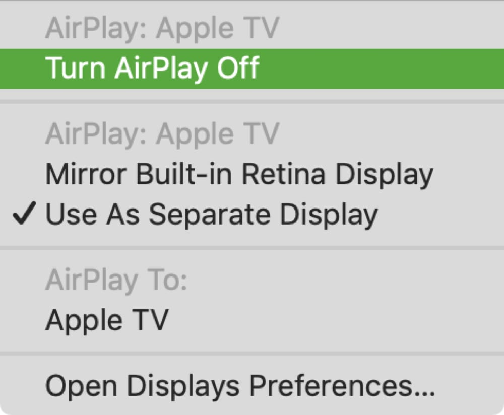 Apple TV Turn AirPlay Off