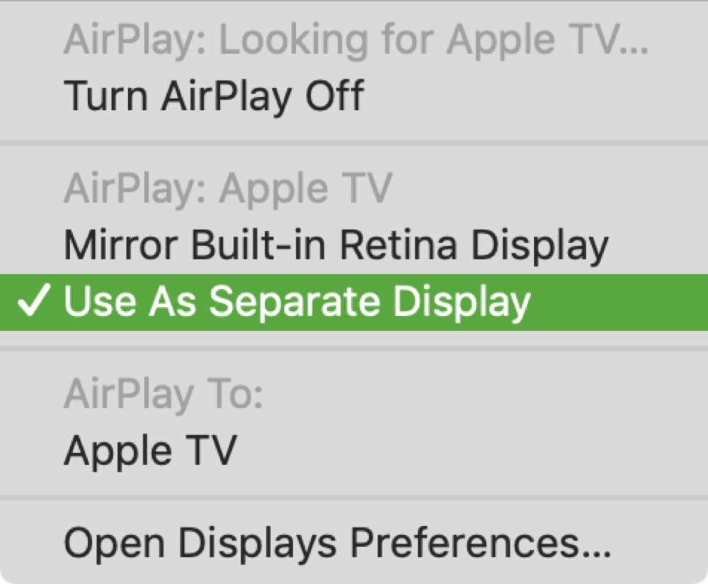 Apple TV Use as a Separate Display
