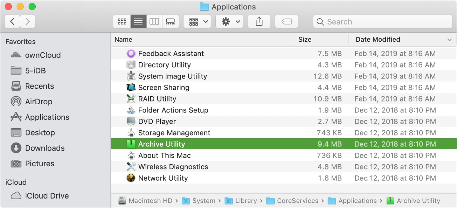 Archive Utility in System Folder on Mac