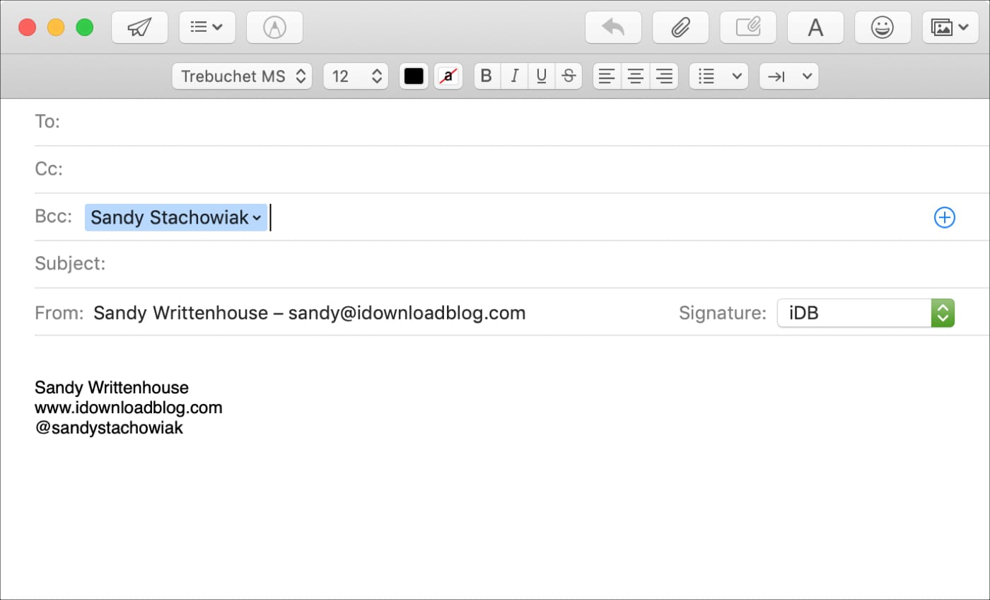 Bcc Field in Mail on Mac