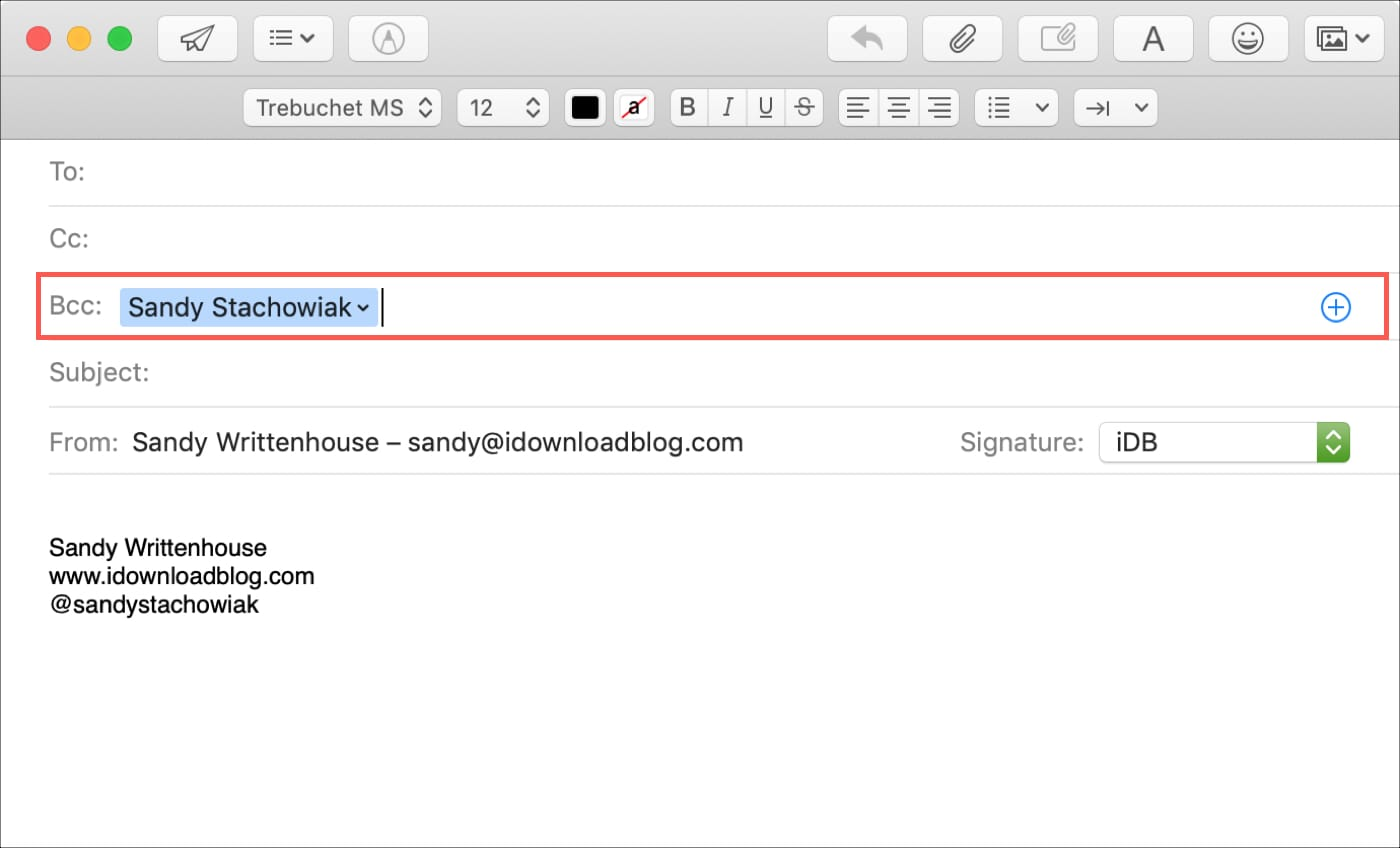 Bcc in Mail on Mac