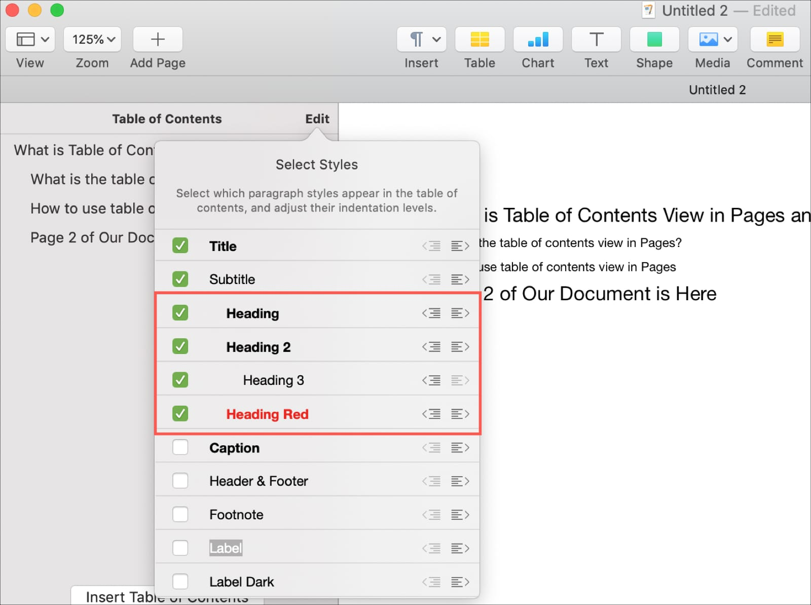 Cambiar alineación en la tabla de contenido en páginas