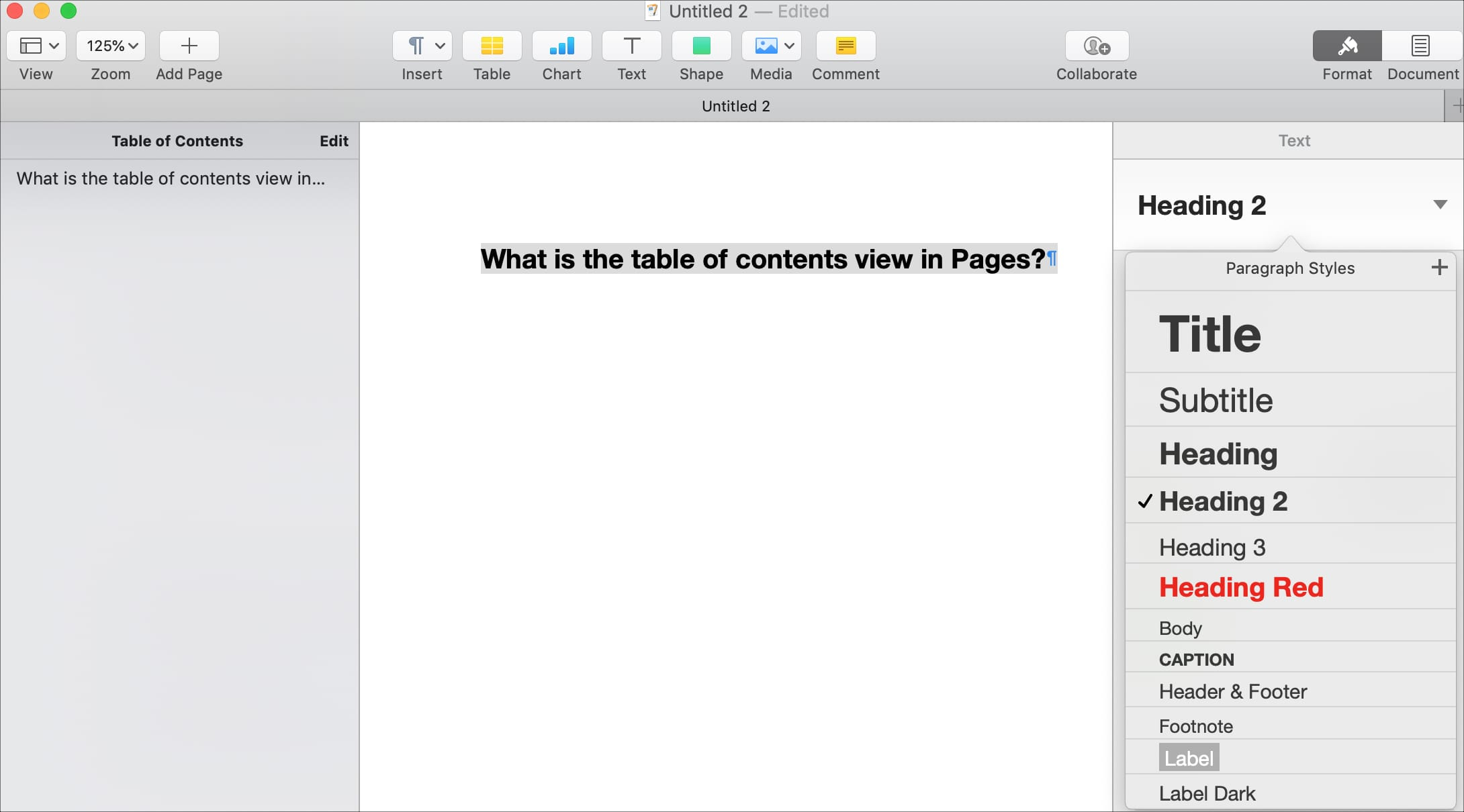 Change paragraph styles in Pages for the TOC