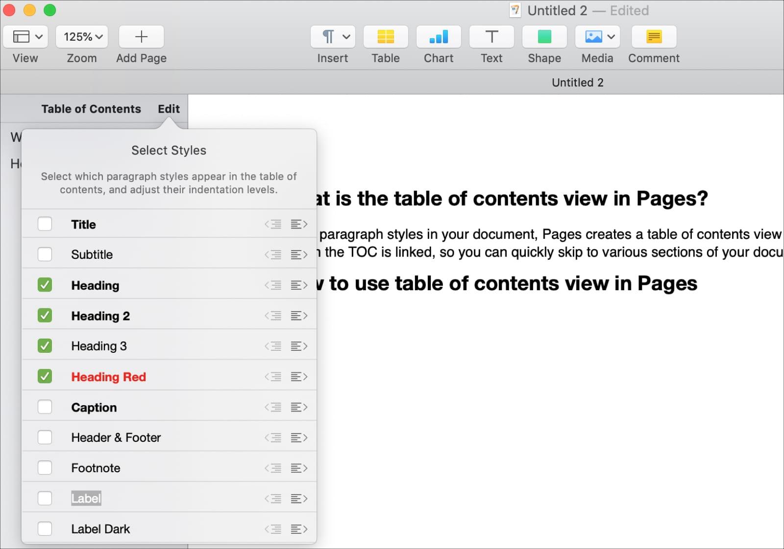 Cambiar estilos de párrafo en la tabla de contenido en páginas