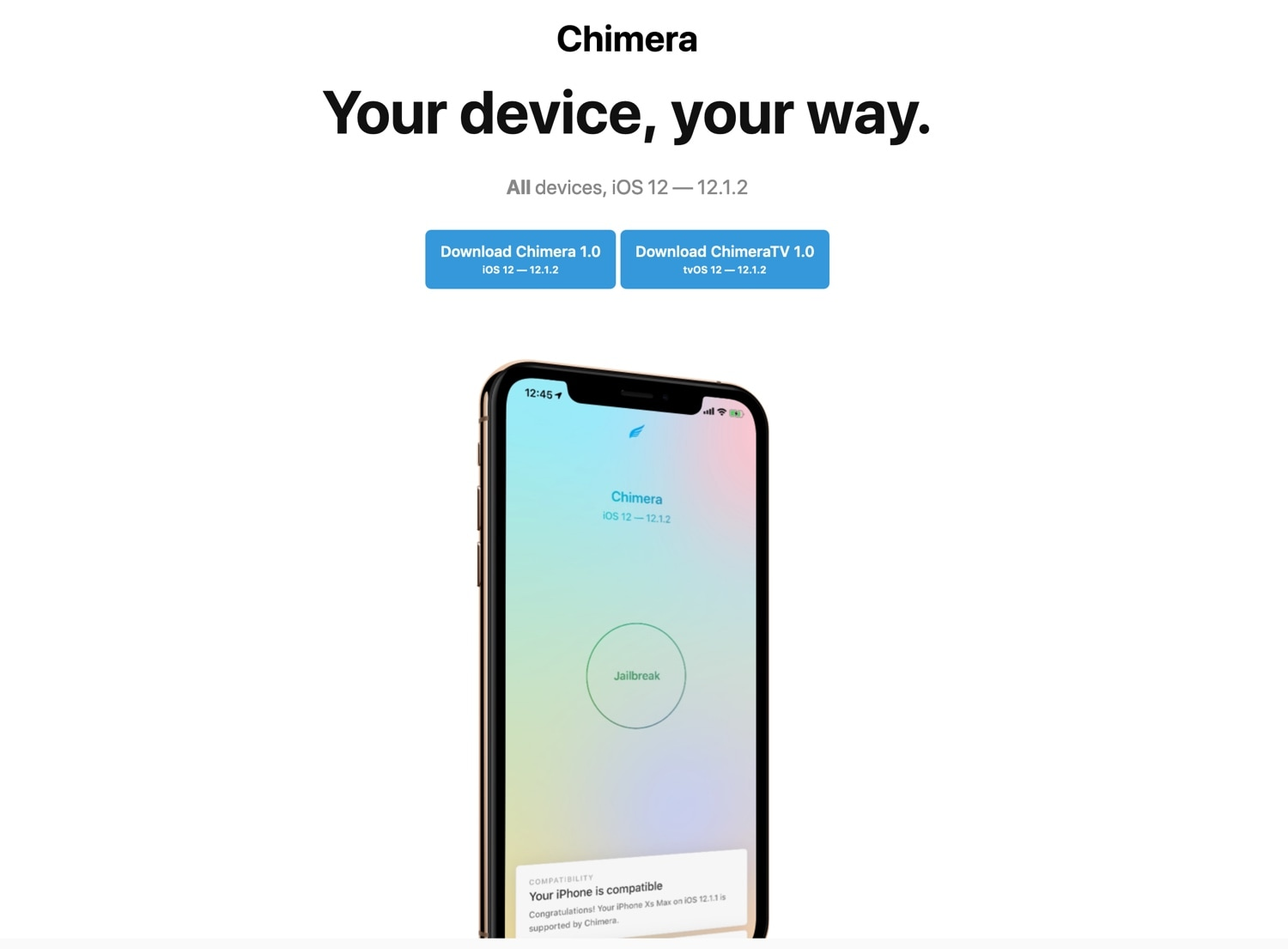Electra Team releases Chimera jailbreak for iOS 12 0-12 1 2