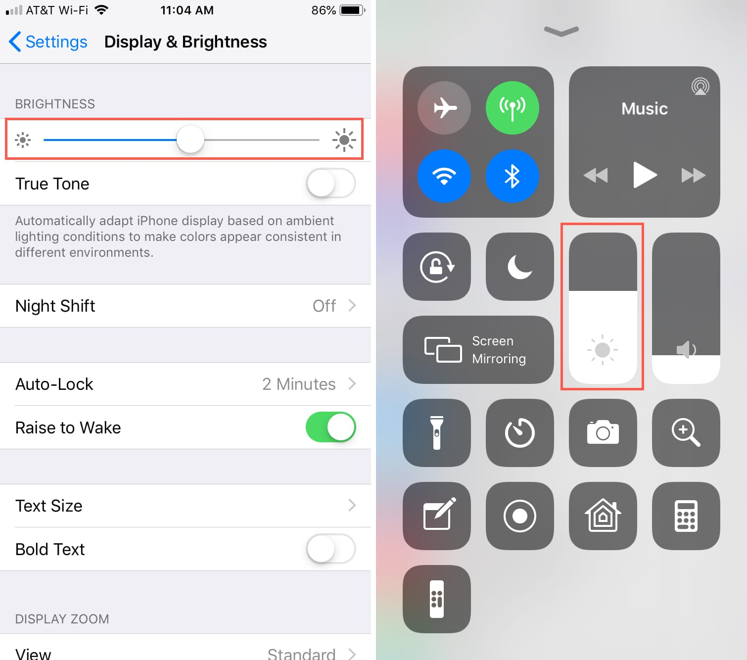 Control Screen Brightness Manually iPhone