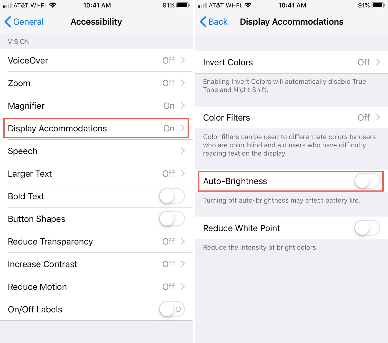 Disable AutoBrightness on iPhone