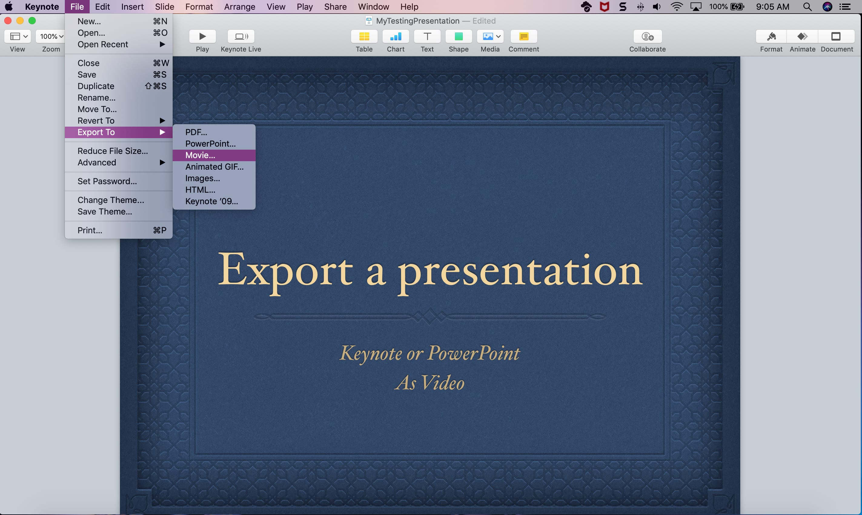 How to export a presentation in Keynote or PowerPoint as a video