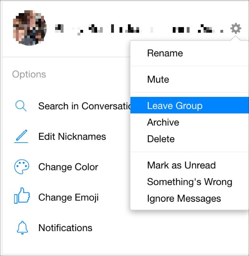 Facebook Messenger Online Leave Group