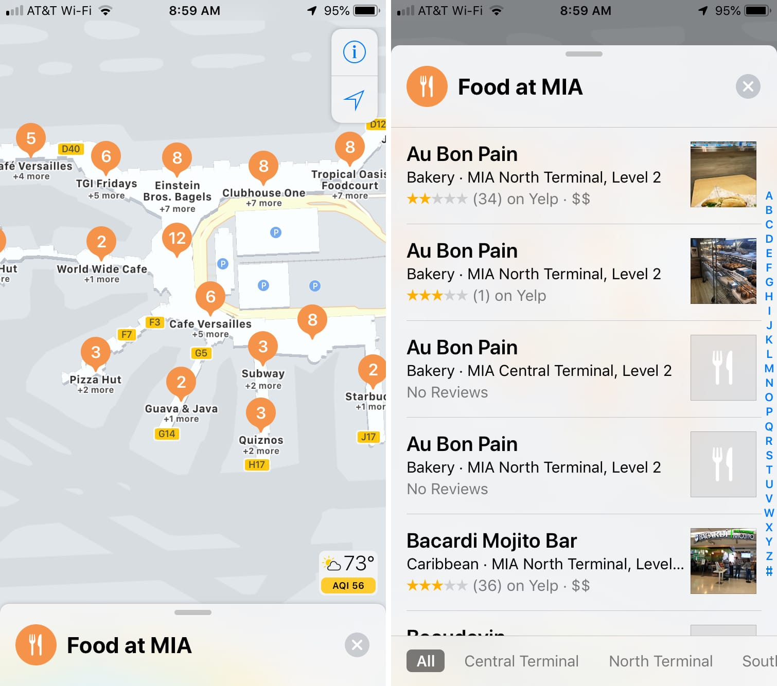 Indoor Maps Miami Airport Food