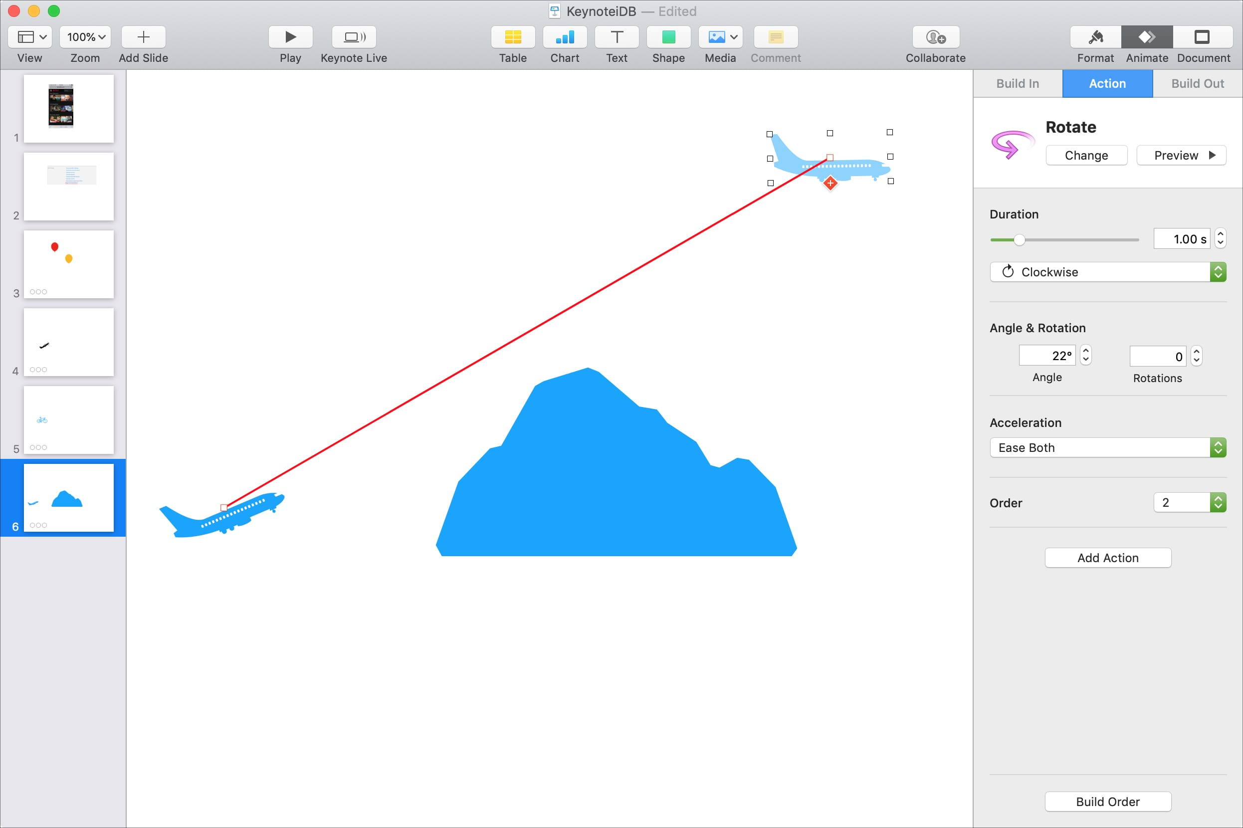 How to animate objects on a slide in Keynote on Mac