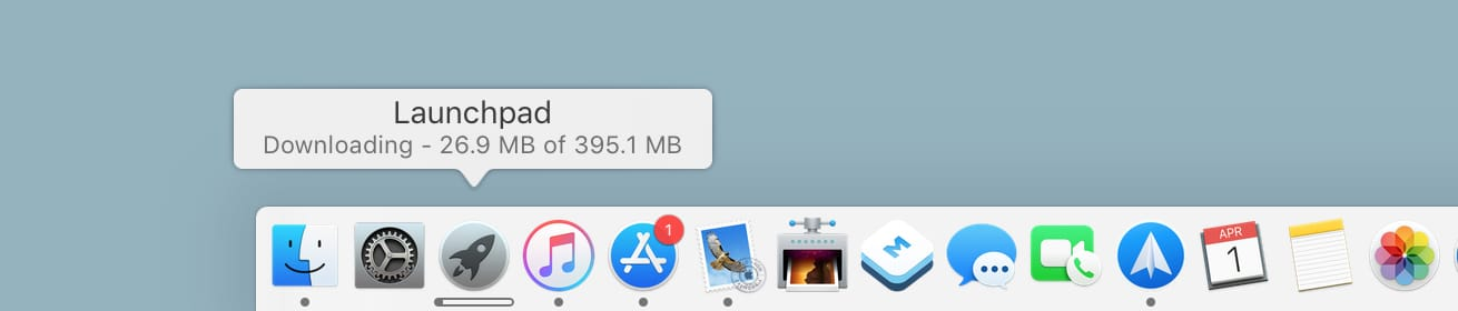 Launchpad in Dock downloading app progress