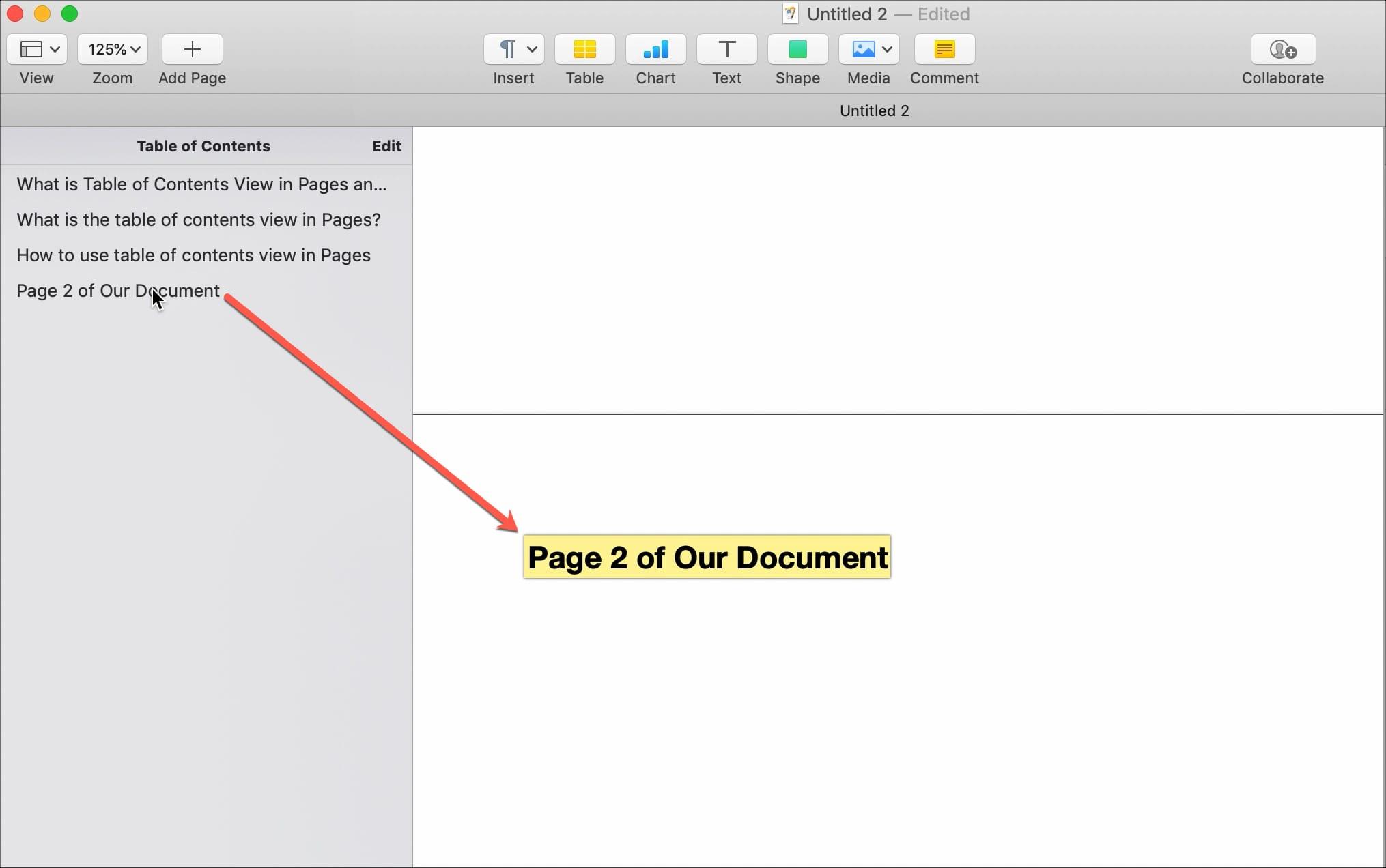 Navega con la vista de TOC en Pages
