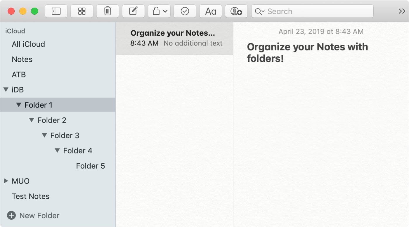 Organize Notes with Folders on Mac