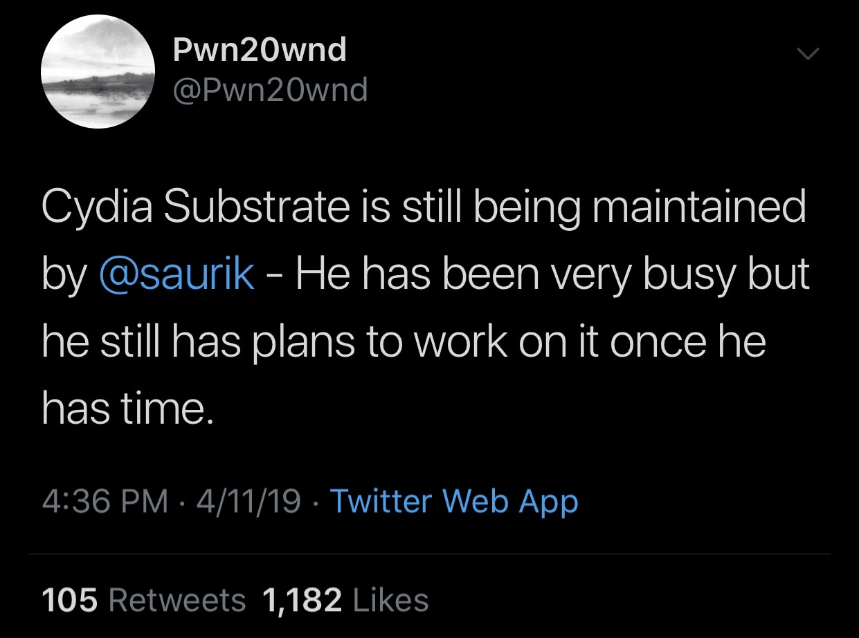 Pwn20wnd confirms that Saurik will update Cydia Substrate for A12(X) devices