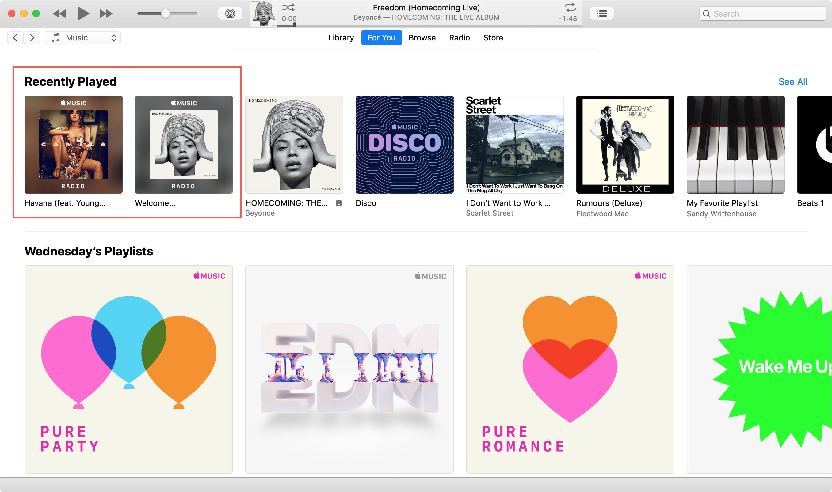 Recently Played Created Stations iTunes Mac