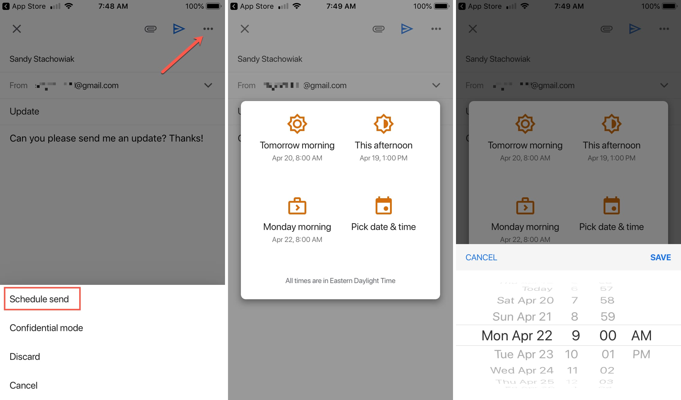 How to schedule emails in the Gmail app on iPhone and iPad