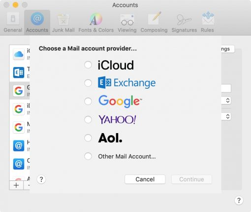 Select email account type to add to Mail Mac