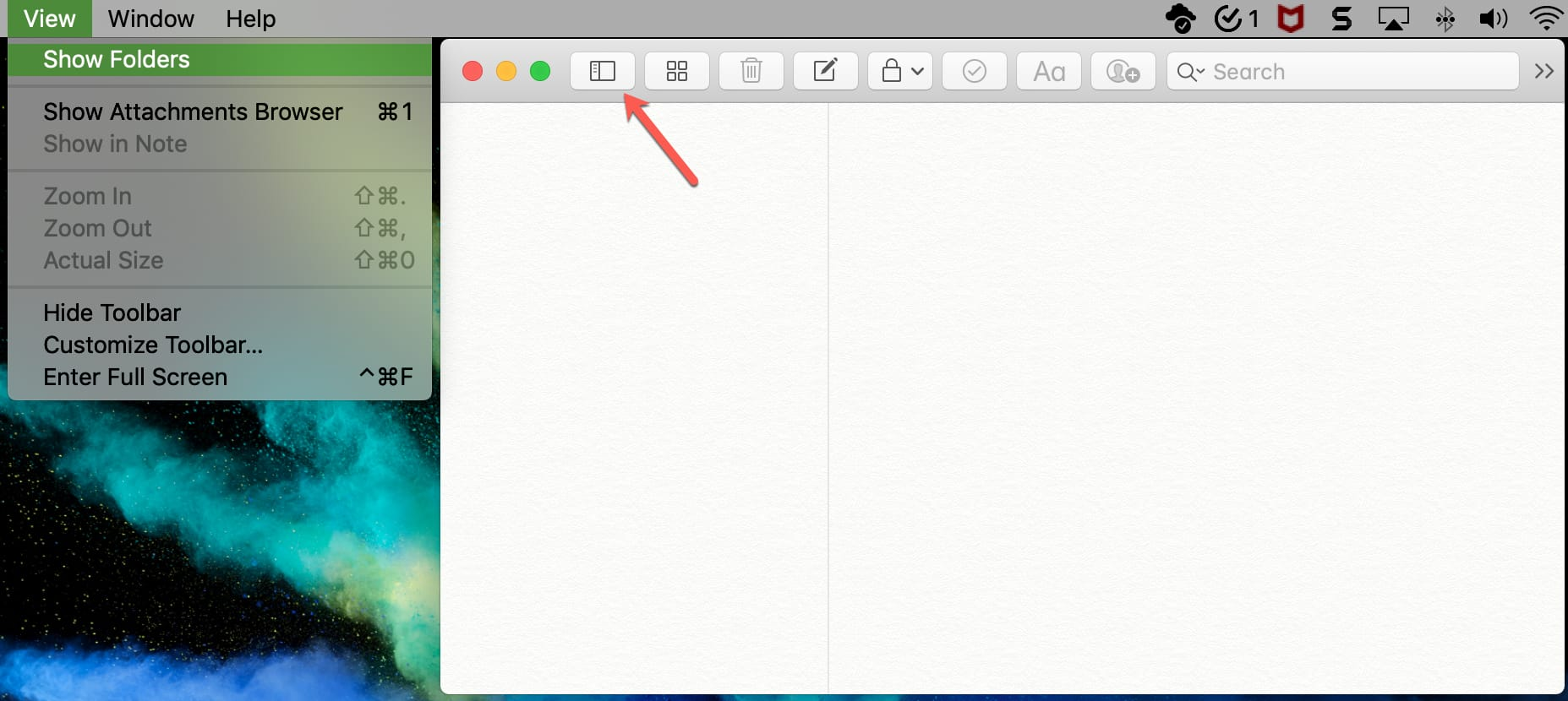 Show Folders in Notes on Mac