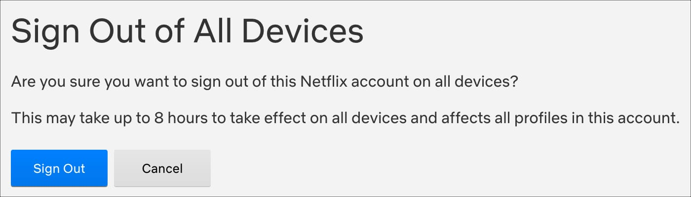 Sign Out of All Devices Netflix Web