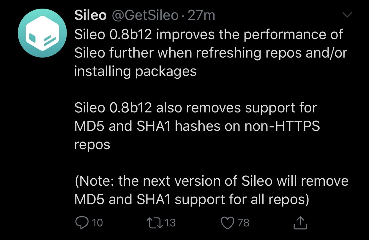 Sileo beta preview updated to version 0 8b12 as CoolStar announces