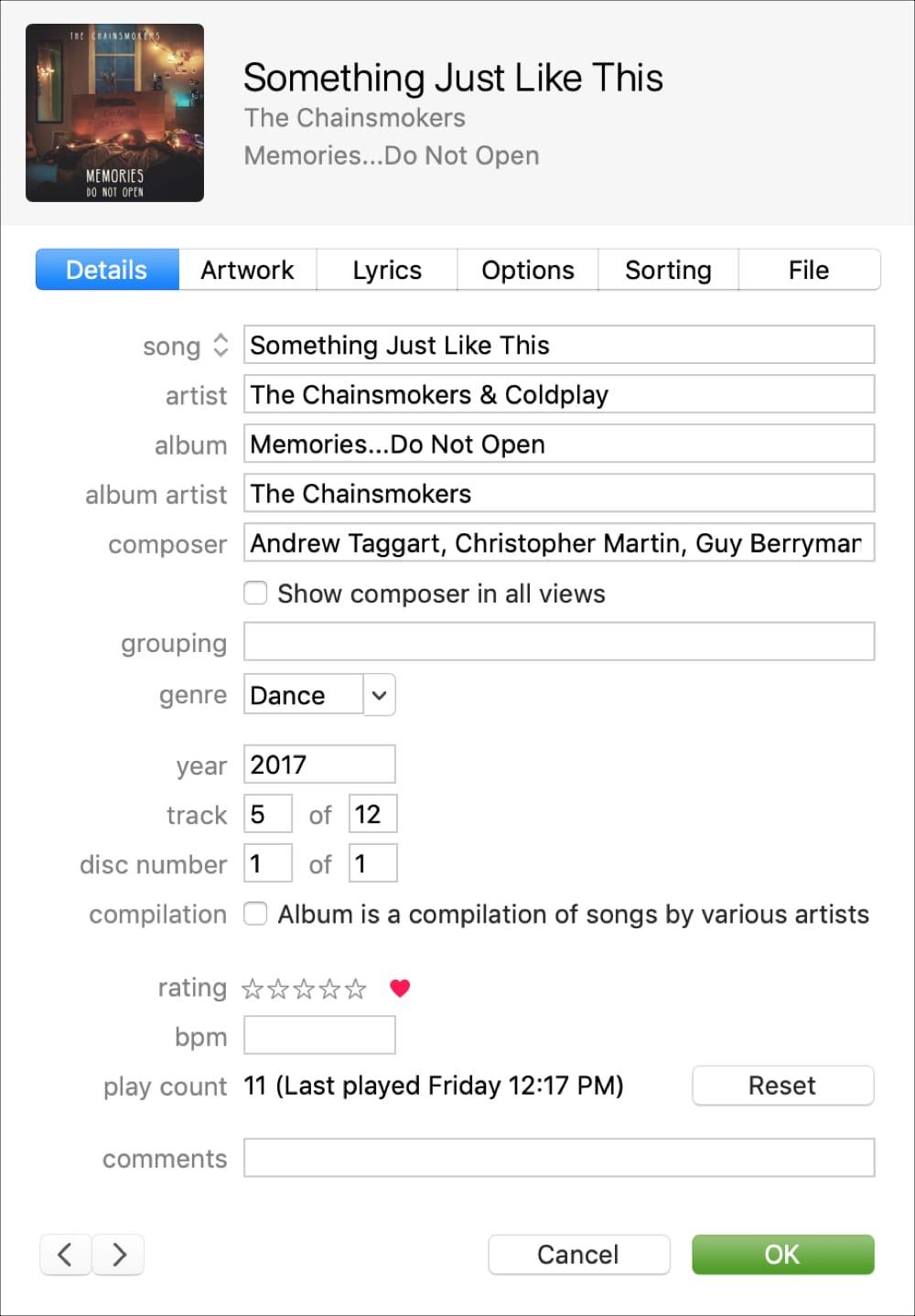 Detalles de la canción Detalles de la sección iTunes
