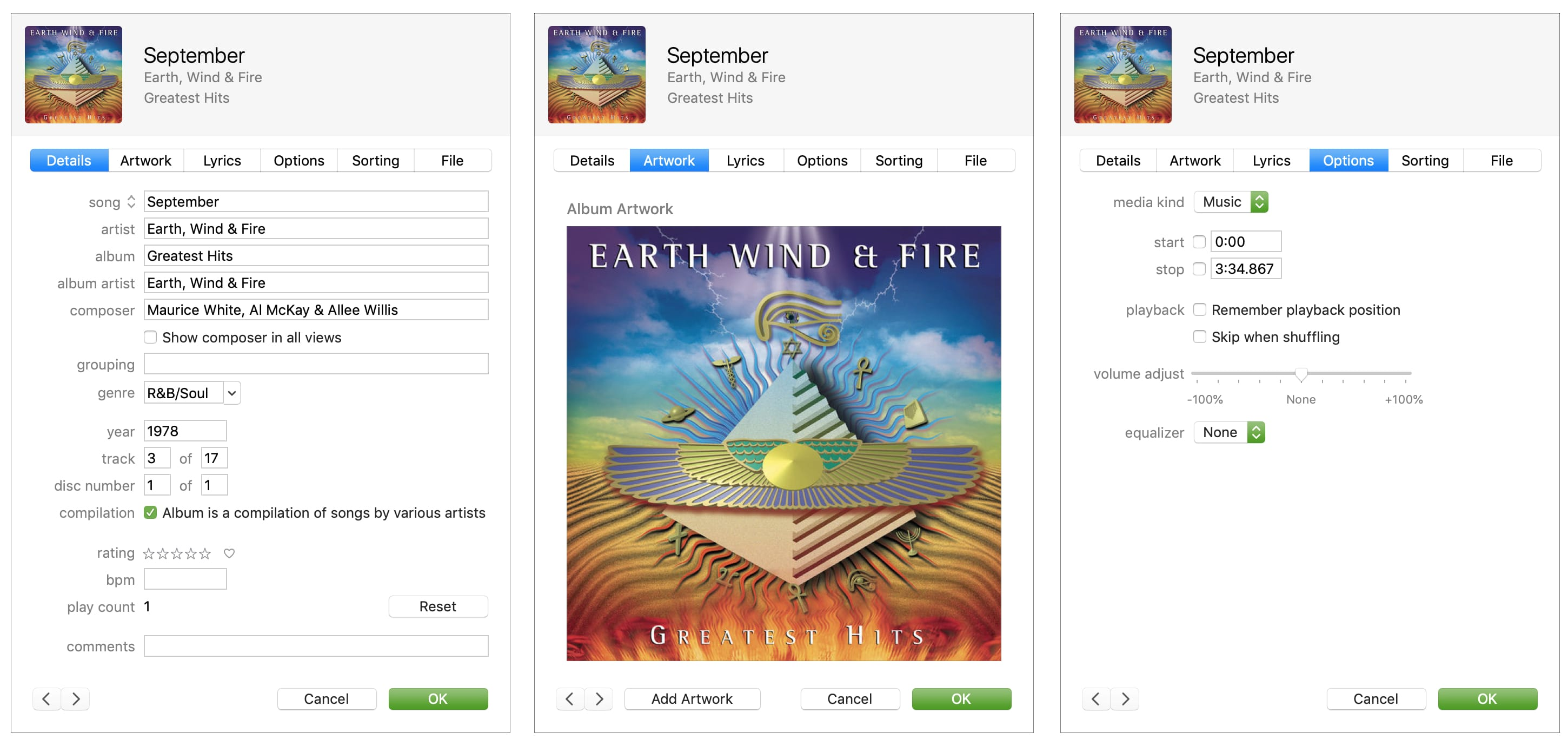 Song Info in iTunes - Earth Wind and Fire