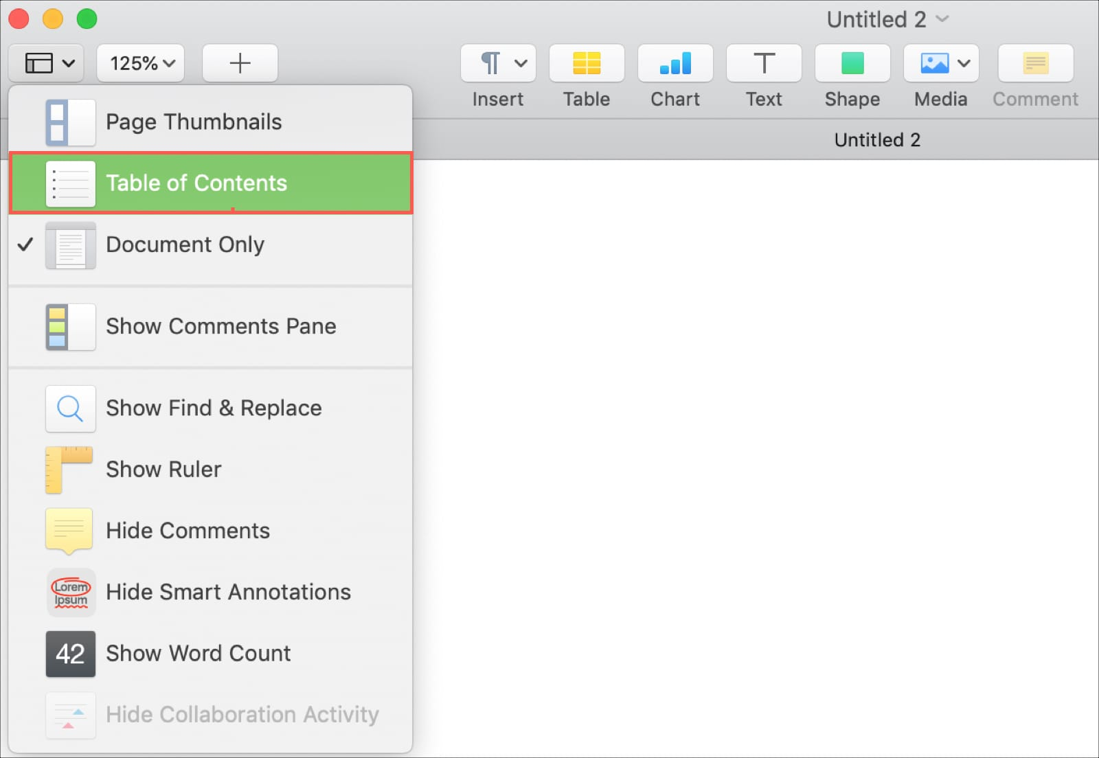 What is Table of Contents View in Pages and how do you use it?