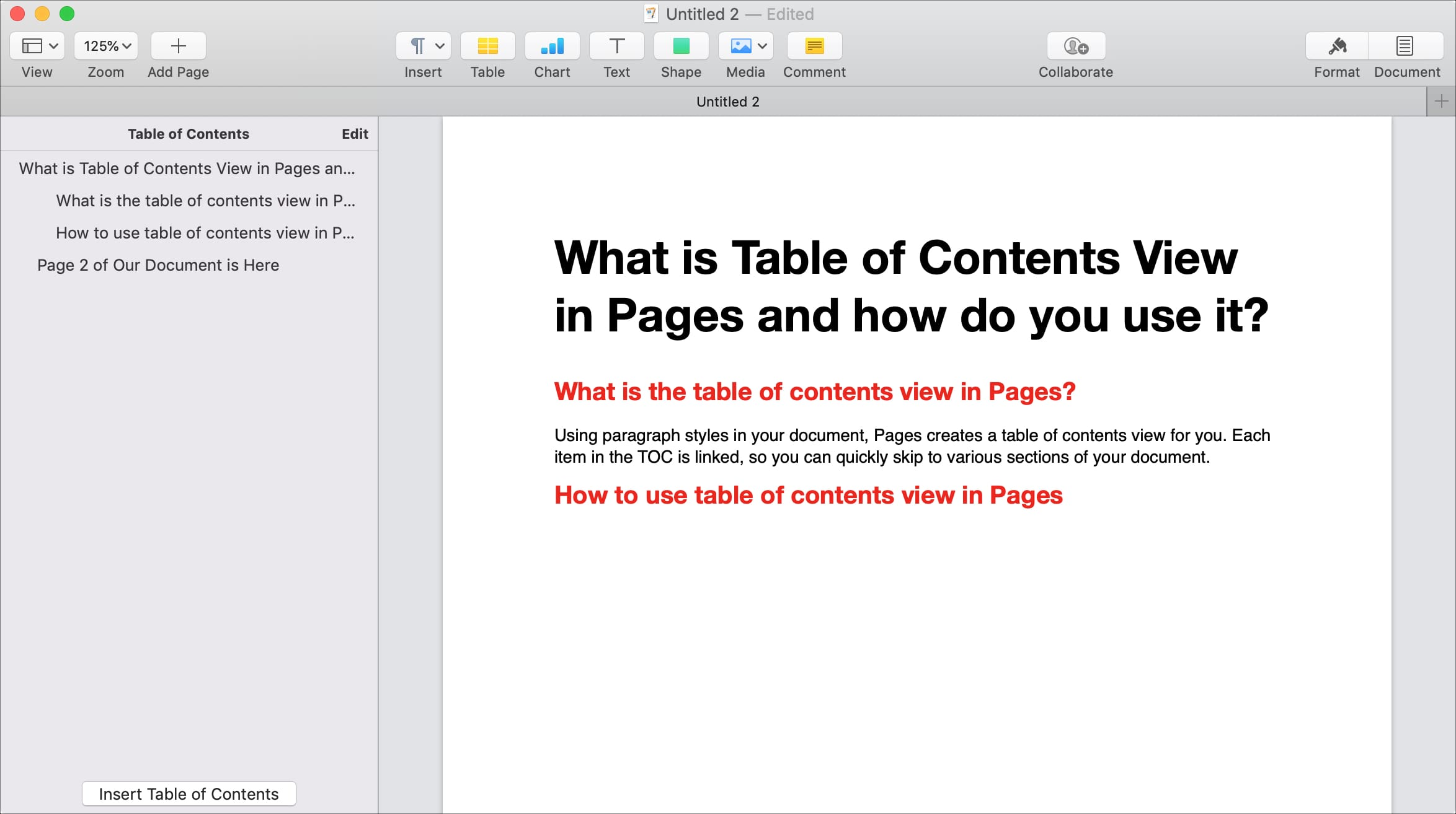 Table of Contents view sidebar in Pages