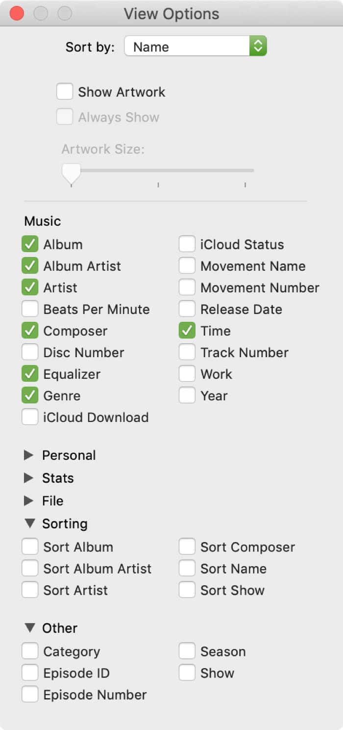 View Options for Songs in Music Library