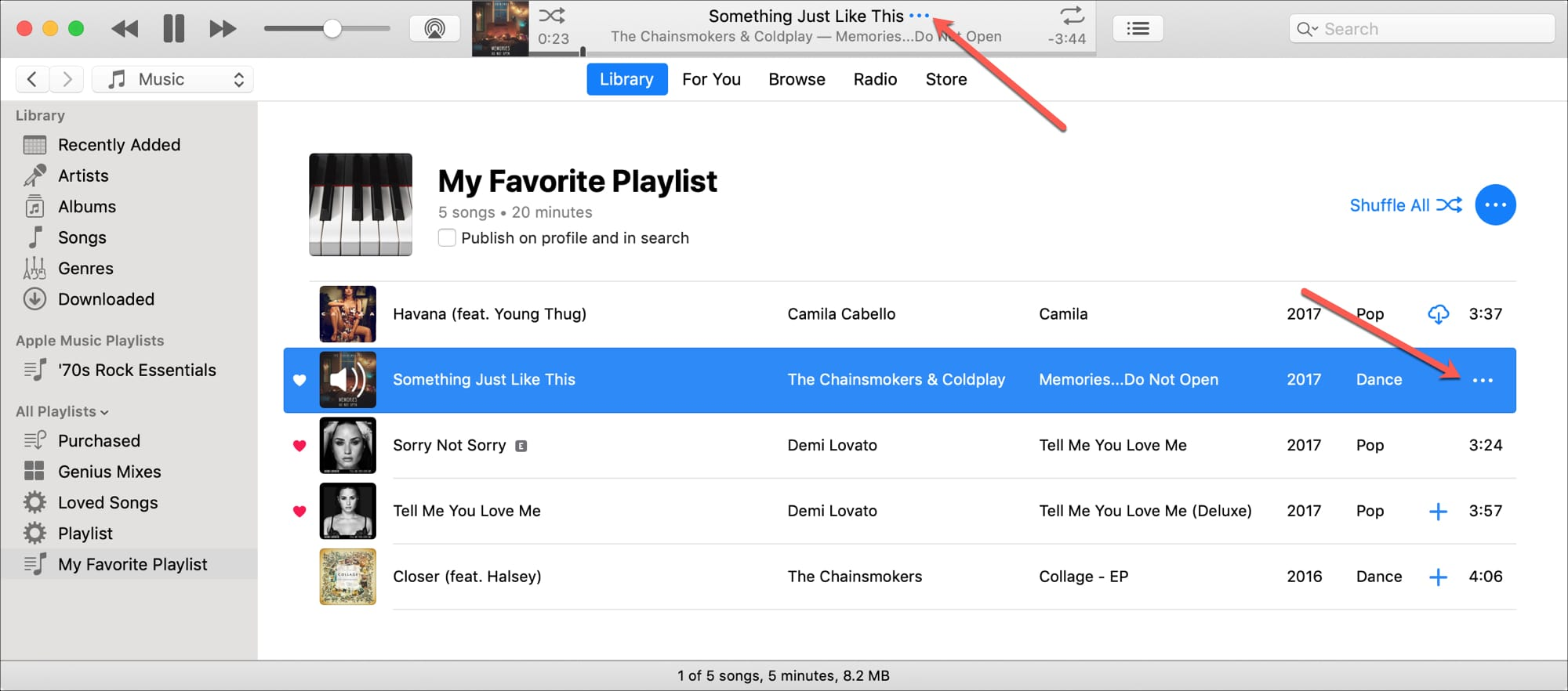 iTunes More Buttons for Song