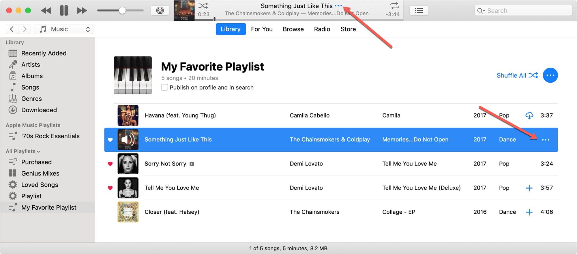 iTunes Más botones para la canción