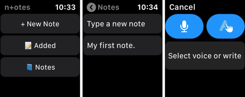 n+otes on Apple Watch