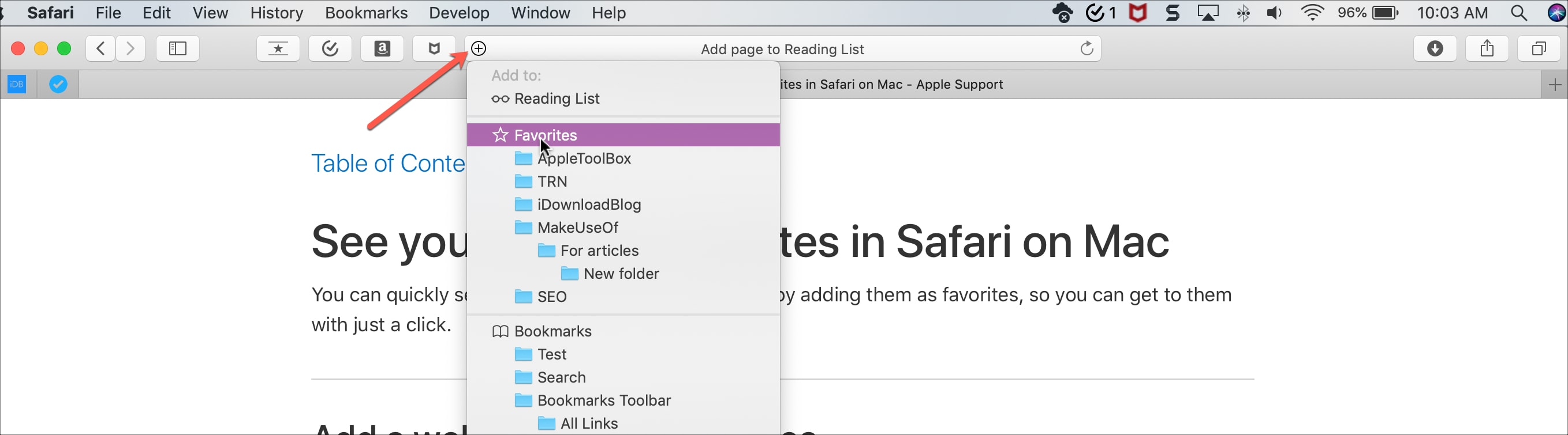 Add Favorites Safari Mac
