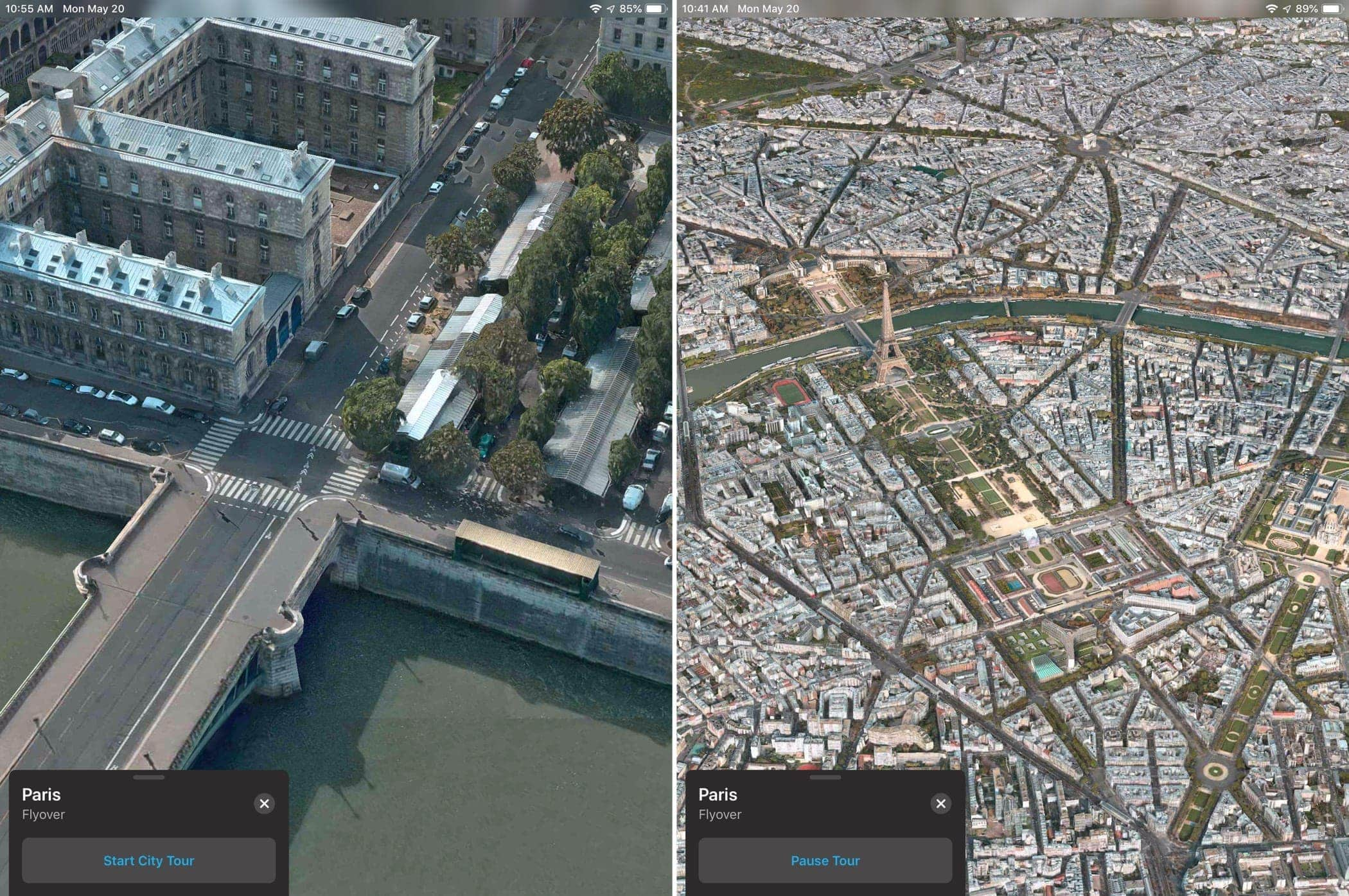 Apple Maps Flyover Paris Start Pause Tour