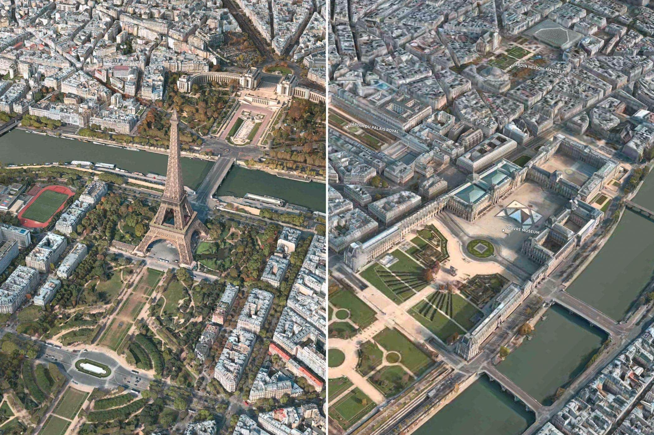 Apple Maps Flyover Paris Two Views