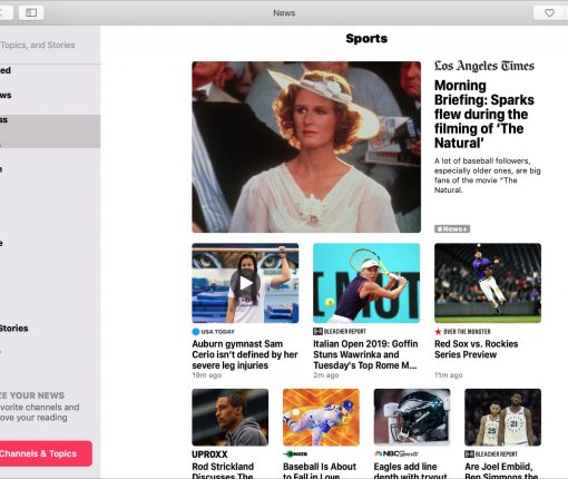 Apple News App on Mac Sports
