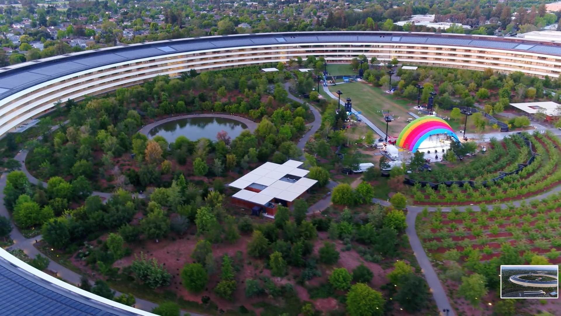 Apple has erected a giant rainbow-colored stage in the