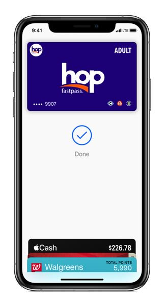 Apple Wallet with the Hop Fastpass transit card