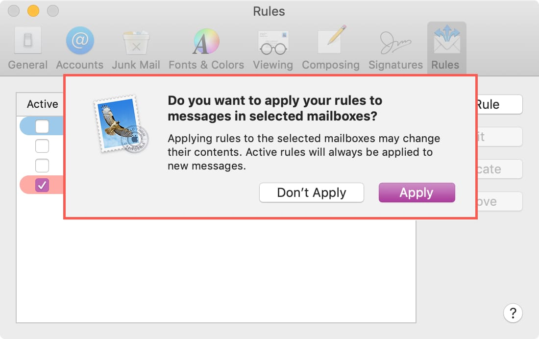 Apply Rule to Inbox Mail on Mac