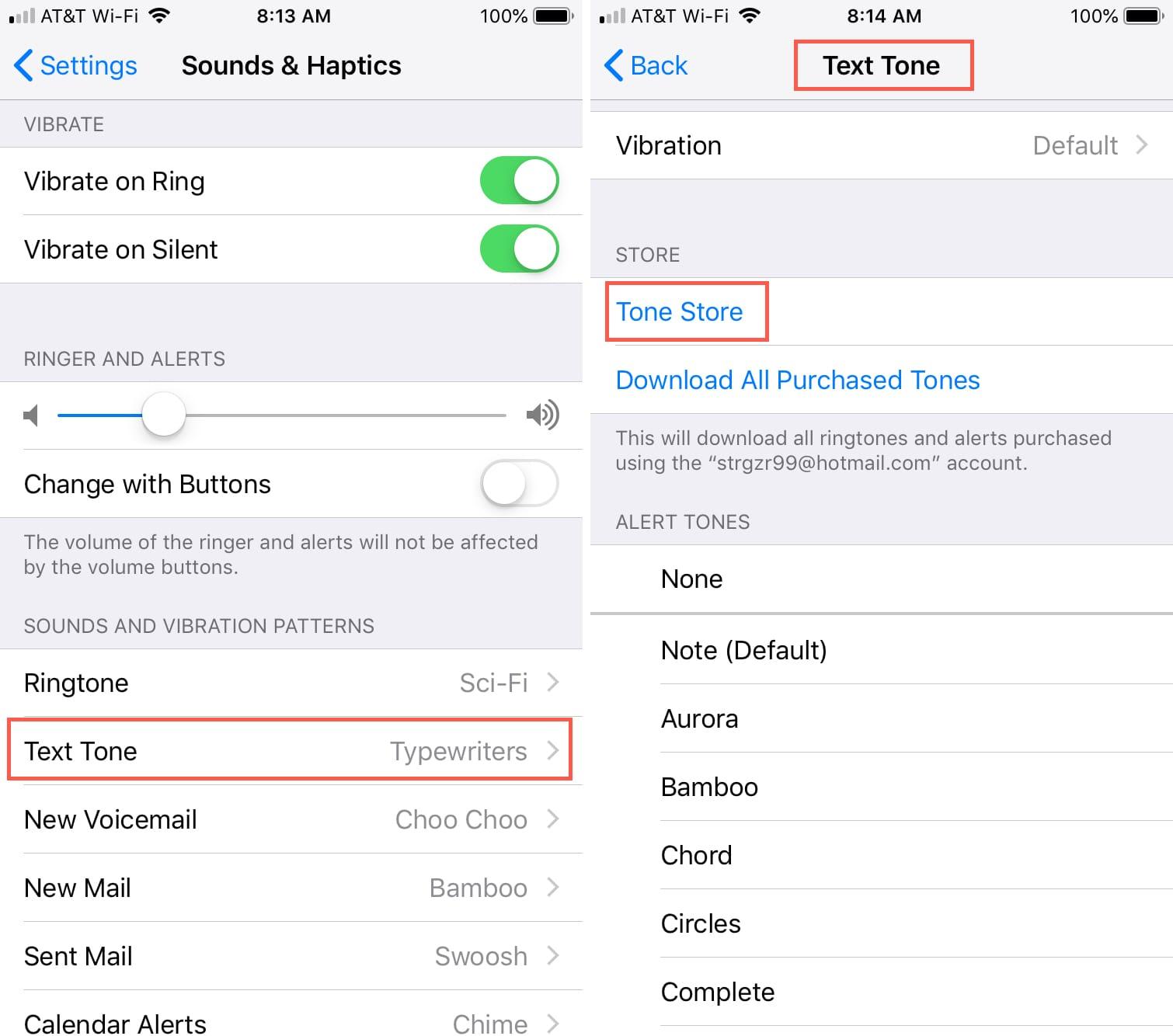 Change iPhone Text tone