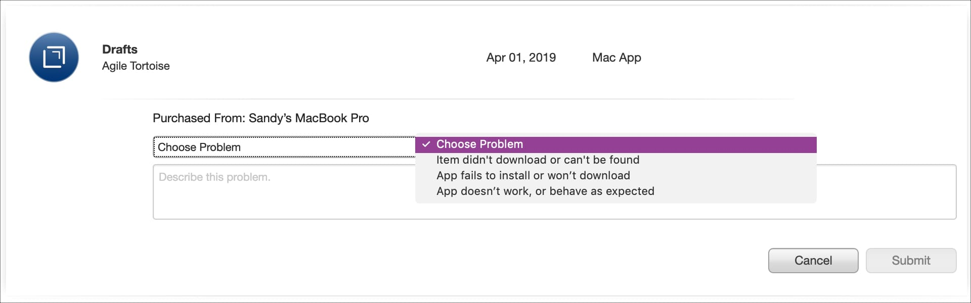 Choose Problem Report a Problem Website Request Refund Mac app