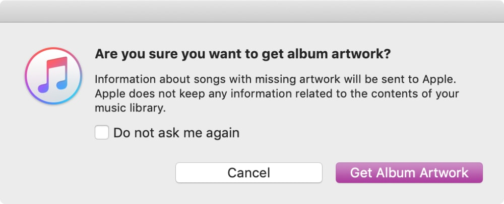 Confirm Get Album Artwork iTunes on Mac