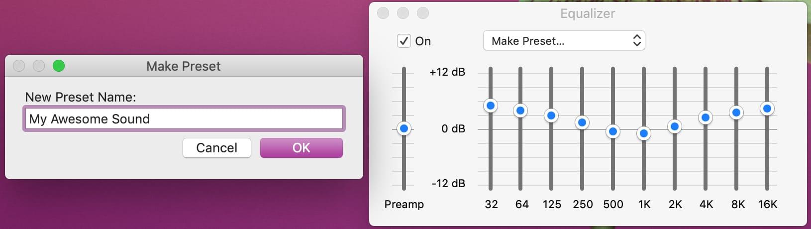 Create iTunes Preset on Mac