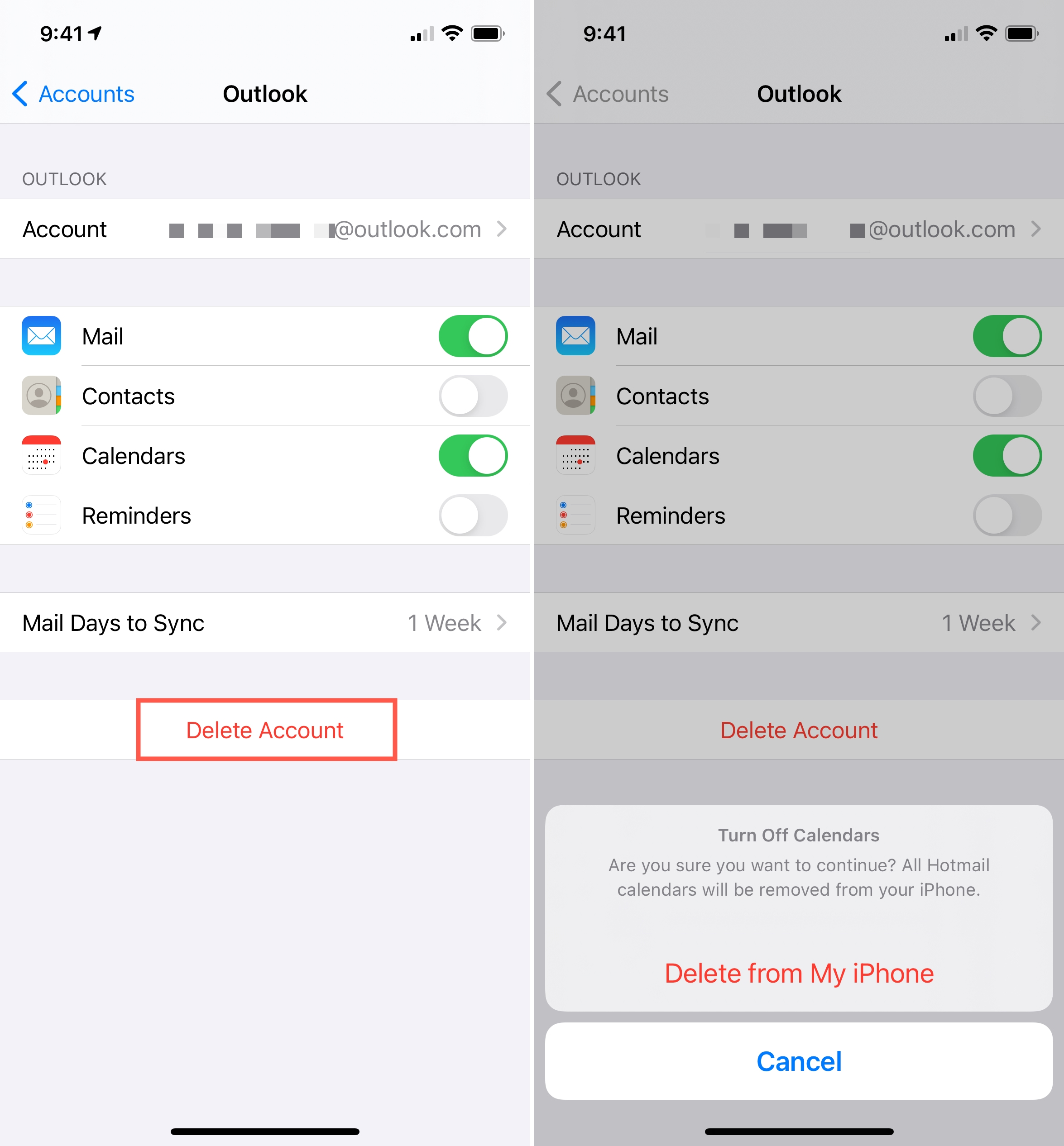 Delete Outlook Email from iPhone Mail