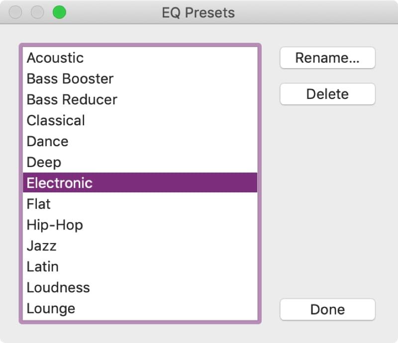 Delete or Rename iTunes Preset on Mac