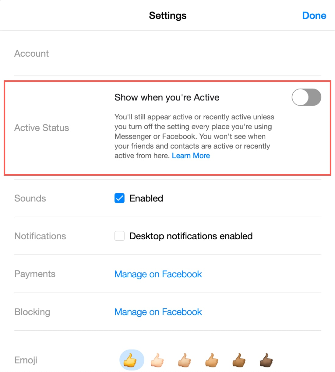Disable Active Status FB Messenger Website